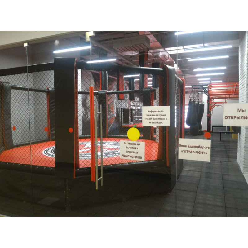 MMA cage (diameter 5m, podium height 0.5m)