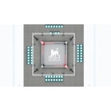 Квадратная напольная осветительная рама 9,2 × 9,2 м.